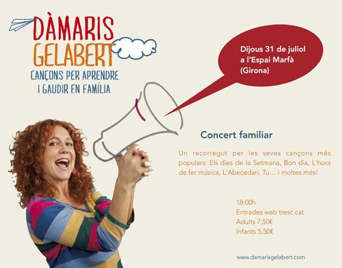 Guanyadors de les entrades pel concert de Dàmaris Gelabert a Girona